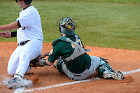 Siena Saints catcher Kyle Baldani #27 tags out a runner trying to score during a game against the Central Florida Knights at Jay Bergman Field on February 16, 2013 in Orlando, Florida.  Siena defeated UCF 7-4.  (Mike Janes/Four Seam Images)