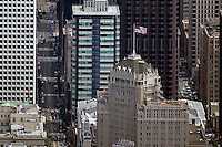 aerial photograph Mark Hopkins hotel, 555 California Street skyscrapers San Francisco