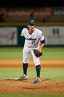 Pensacola Blue Wahoos pitcher Tom Hackimer (17) during a Southern League game against the Mobile BayBears on July 25, 2019 at Blue Wahoos Stadium in Pensacola, Florida.  Pensacola defeated Mobile 3-2 in the second game of a doubleheader.  (Mike Janes/Four Seam Images)