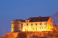 The Chateau de Tournon flood lit at night. Built on a cliff in the 14th fourteenth and 15th fifteenth century by the seigneurs de Tournon. Tournon-sur-Rhone, Ardeche Ardèche, France, Europe