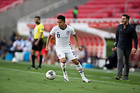 ZAPOPAN, MEXICO - MARCH 21: Sebastian Saucedo #10 of the United States turns and moves with the ball during a game between Dominican Republic and USMNT U-23 at Estadio Akron on March 21, 2021 in Zapopan, Mexico.
