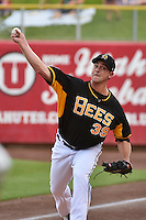 Jarrett Grube (39) of the Salt Lake Bees before the game against the Reno Aces in Pacific Coast League action at Smith's Ballpark on July 23, 2014 in Salt Lake City, Utah.  (Stephen Smith/Four Seam Images)