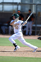 Oakland Athletics infielder Daniel Robertson (10) during an instructional league game against the San Francisco Giants on September 27, 2013 at Papago Park Baseball Complex in Phoenix, Arizona.  (Mike Janes/Four Seam Images)