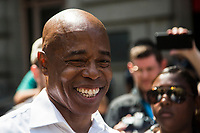 """NEW YORK, NEW YORK - JULY 7: Democratic New York City mayoral candidate Eric Adams attends the """"Hometown Heroes"""" Ticker Tape Parade on July 7, 2021 in New York City. Healthcare workers, first responders and essential workers are honored at the Canyon of Heroes in Manhattan for their service during the COVID-19 pandemic. (Photo by Pablo Monsalve / VIEWpress via Getty Images)"""