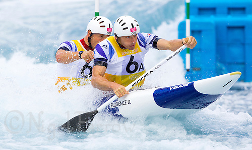 02 AUG 2012 - CHESHUNT, GBR - David Florence (GBR) (right) and Richard Hounslow (GBR) (left) of Great Britain make their semi final run during the men's Canoe Double (C2) during the London 2012 Olympic Games event at Lee Valley White Water Centre, Cheshunt, Great Britain (PHOTO (C) 2012 NIGEL FARROW)