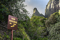 Sign with arrow pointing to Iao Needle, Iao Valley State Park, Wailuku, Maui