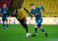 Jacob Lungi Sørensen of Norwich City during the Sky Bet Championship behind closed doors match played without supporters with the town in tier 4 of the government covid-19 restrictions, between Watford and Norwich City at Vicarage Road, Watford, England on 26 December 2020. Photo by Andy Rowland.