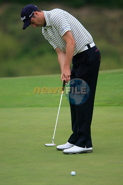 Ross Fisher (ENG) takes his putt on the 8th green during Day 2 of the Volvo World Match Play Championship in Finca Cortesin, Casares, Spain, 20th May 2011. (Photo Eoin Clarke/Golffile 2011)