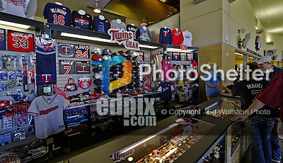 29 September 2012: Minnesota Twins sell merchandise at a concession stand on the concourse of Target Field prior to a game against the Detroit Tigers at Target Field in Minneapolis, MN. The Tigers defeated the Twins 6-4 in the second game of their 3-game series. Mandatory Credit: Ed Wolfstein Photo