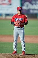 Orem Owlz starting pitcher Emilker Guzman (2) delivers a pitch to the plate against the Ogden Raptors at Lindquist Field on June 22, 2019 in Ogden, Utah. The Owlz defeated the Raptors 7-4. (Stephen Smith/Four Seam Images)