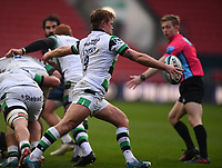 1st January 2021; Ashton Gate Stadium, Bristol, England; Premiership Rugby Union, Bristol Bears versus Newcastle Falcons; Sam Stuart of Newcastle Falcons kicks from a ruck