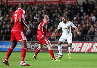 League Cup, Swansea City (white) V Middlesbrough, Liberty Stadium, 12/12/12<br /> Pictured:Wayne Routledge of the Swans on the ball.<br /> Picture by: Ben Wyeth<br /> Athena Picture Agency<br /> info@athena-pictures.com