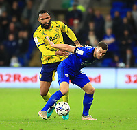 28th September 2021; Cardiff City Stadium, Cardiff, Wales;  EFL Championship football, Cardiff versus West Bromwich Albion; Kyle Bartley of West Bromwich Albion and James Collins of Cardiff City challenge for the ball