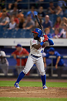 Buffalo Bisons right fielder Roemon Fields (4) at bat during a game against the Syracuse Chiefs on September 2, 2018 at NBT Bank Stadium in Syracuse, New York.  Syracuse defeated Buffalo 4-3.  (Mike Janes/Four Seam Images)