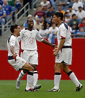 USA men celebrate, World Cup qualifier between USA and El Salvador, 2004.