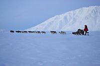 Paul Gebhardts team on the trail leaving Rainy Pass Chkpt 2006 Iditarod Alaska Range Rainy Pass Alaska