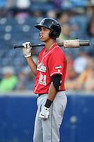 Great Lakes Loons outfielder Alex Santana (21) waits on deck during a game against the West Michigan Whitecaps on June 4, 2014 at Fifth Third Ballpark in Comstock Park, Michigan.  West Michigan defeated Great Lakes 4-1.  (Mike Janes/Four Seam Images)