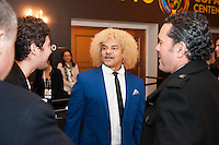 NEW YORK, NY - Sunday February 21, 2016: Carlos Valderrama and other guests arrive during the Copa America Centenario draw ceremony at the Hammerstein Ballroom in midtown Manhattan, New York City.