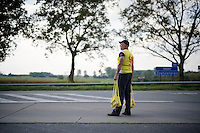 soigneur waiting for the riders at the feed zone<br /> <br /> stage 2<br /> Euro Metropole Tour 2014 (former Franco-Belge)
