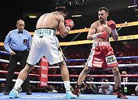 """LAS VEGAS, NV - AUG 21: Robert """"The Ghost"""" Guerrero  vs Victor Ortiz on the Fox Sports PBC pay-per-view fight night at the T-Mobile Arena on August 21, 2021 in Las Vegas, Nevada (Photo by Scott Kirkland/Fox Sports/PictureGroup)"""