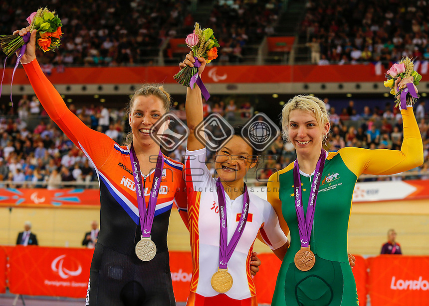 Women's Individual C1-2-3 500m Time Trial medal ceremony, L-R Alyda Norbruis (NED) Yin He (CHN) Jayme Paris (AUS), Track Cycling (Sat 1 Sep) - Velodrome,Paralympics - Summer / London 2012, London, England 29 Aug - 9 Sept , © Sport the library/Greg Smith