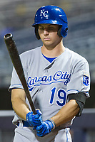 AZL Royals Brewer Hicklen (19) on deck against the AZL Mariners on July 29, 2017 at Peoria Stadium in Peoria, Arizona. AZL Royals defeated the AZL Mariners 11-4. (Zachary Lucy/Four Seam Images)