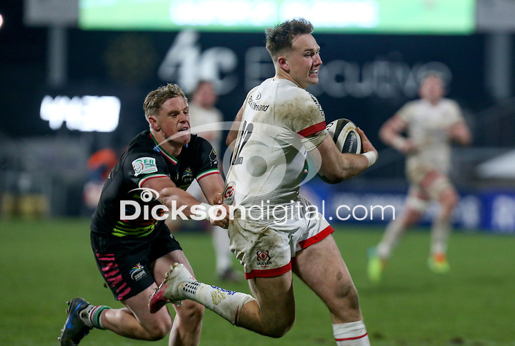19th March 2021;   Stewart Moore is tackled by Joshua Renton during the final round of the Guinness PRO14 against Zebre Rugby held at Kingspan Stadium, Ravenhill Park, Belfast, Northern Ireland. Photo by John Dickson/Dicksondigital