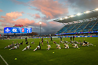 Stanford, CA - December 8, 2019: Warm-ups at Avaya Stadium. The Stanford Cardinal won their 3rd National Championship, defeating the UNC Tar Heels 5-4 in PKs after the teams drew at 0-0.