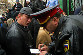 Moscow, Russia.October 26, 2002..The day Russian troups stormed the theater in Moscow where Chechen hostage takers held around 850 Russians and foreign nationals for 3 days demanding the Russian troops pull out of Chechyna...Families of the hostage put there name on a list at a hospital in hopes of finding their relatives...After a siege of two and a half days, Russian OSNAZ raided the building after pumping a mysterious chemical agent into the building's ventilation system. All of the terrorists were killed by Russian forces, along with at least 129 of the hostages. There were conceivably more than 200 civilian deaths.