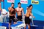 Japan team group (JPN),<br /> JULY 28, 2013 - Swimming : (L-R) Shinri Shioura, Takuro Fujii and Kenji Kobase after men's 4x100m freestyle heat during the World Swimming Championships at the Sant Jordi arena in Barcelona, Spain.<br /> (Photo by Daisuke Nakashima/AFLO)
