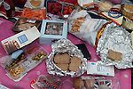 Royal Ascot horse racing Berkshire. 2016 Royal Ascot horse racing Berkshire. The remains of an alfresco picnic, plastic wrappers excess food. 2016  2010s UK