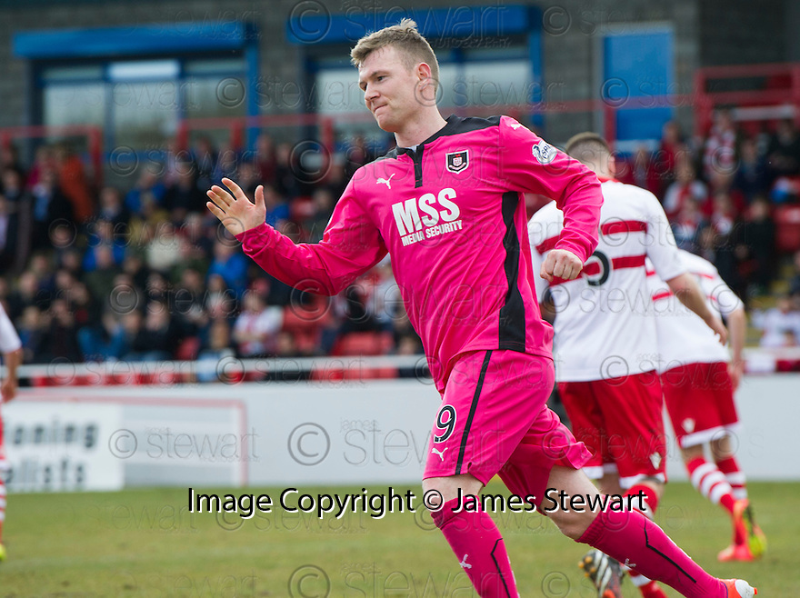 Airdrie's Bryan Prunty celebrates after he scores their second goal from the spot.