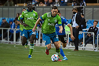 SAN JOSE, CA - MAY 12: Shane O'Neill #27 of the Seattle Sounders dribbles the ball during a game between San Jose Earthquakes and Seattle Sounders FC at PayPal Park on May 12, 2021 in San Jose, California.