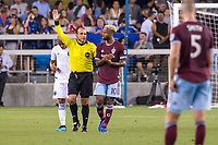 SAN JOSÉ CA - JULY 27: Referee Baldomero Toledo and Kellyn Acosta #10 during a Major League Soccer (MLS) match between the San Jose Earthquakes and the Colorado Rapids on July 27, 2019 at Avaya Stadium in San José, California.