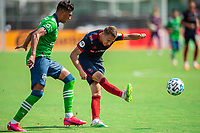 LAKE BUENA VISTA, FL - JULY 14: Przemyslaw Frankowski #11 of the Chicago Fire kicks the ball during a game between Seattle Sounders FC and Chicago Fire at Wide World of Sports on July 14, 2020 in Lake Buena Vista, Florida.
