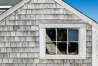 Detail of a rustic fisherman's shack, Chatham, Cape Cod, Massachusetts, USA.