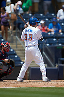 Brendan McKay (33) of the Durham Bulls at bat against the Columbus Clippers at Durham Bulls Athletic Park on June 1, 2019 in Durham, North Carolina. The Bulls defeated the Clippers 11-5 in game one of a doubleheader. (Brian Westerholt/Four Seam Images)