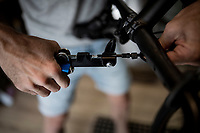 Belgian top custom bike mechanic Vince Van Parijs of Peloton de Paris (Mechelen) assembles a custom Ridley Kanzo gravel bike > working with a hydraulic cable tool here<br /> <br /> ©kramon