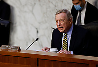 New United States Senator Dick Durbin (Democrat of Illinois), Chairman, US Senate Committee on the Judiciary speaks at the start of a Senate Judiciary Committee hearing on the nomination of Judge Merrick Garland to be U.S. Attorney General on Capitol Hill in Washington, U.S., February 22, 2021.  <br /> Credit: Carlos Barria / Pool via CNP /MediaPunch