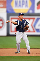 Pensacola Blue Wahoos first baseman Ray Chang (7) throws to first during a game against the Mississippi Braves on May 27, 2015 at Trustmark Park in Pearl, Mississippi.  Pensacola defeated Mississippi 7-5 in fourteen innings.  (Mike Janes/Four Seam Images)