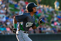 Clinton LumberKings second baseman Joseph Rosa (22) runs to first base during a Midwest League game against the Wisconsin Timber Rattlers on June 29, 2018 at Fox Cities Stadium in Appleton, Wisconsin. Clinton defeated Wisconsin 9-7. (Brad Krause/Four Seam Images)
