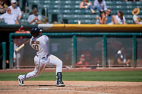 Jose Briceno (10) of the Salt Lake Bees crushes the ball over the left field fence against the Albuquerque Isotopes at Smith's Ballpark on April 22, 2018 in Salt Lake City, Utah. The Bees defeated the Isotopes 11-9. (Stephen Smith/Four Seam Images)