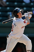 Right fielder Tate Matheny (16) of the Greenville Drive bats in a game against the Augusta GreenJackets on Sunday, June 12, 2016, at Fluor Field at the West End in Greenville, South Carolina. Greenville won, 11-8. (Tom Priddy/Four Seam Images)