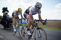 Fabian Cancellara (SUI/Trek-Segafredo) & Sep Vanmarcke (BEL/LottoNL-Jumbo) chasing down Peter Sagan up ahead with just 5km to go<br /> <br /> 100th Ronde van Vlaanderen 2016