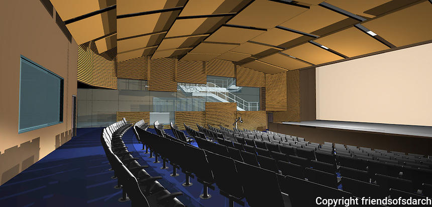 KPBS Studio Theater, San Diego State University. Unbuilt project(future)--a conceptual design for a new theater addition. Audrey Stratton, AIA.