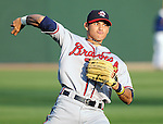 Outfielder Ramon Flores (25) of the Rome Braves, Class A affiliate of the Atlanta Braves, in a game against the Greenville Drive April 13, 2010, at Fluor Field at the West End in Greenville, S.C. Photo by: Tom Priddy/Four Seam Images