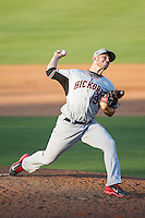 Hickory Crawdads relief pitcher Josh McElwee (19) in action against the Kannapolis Intimidators at CMC-Northeast Stadium on May 4, 2014 in Kannapolis, North Carolina.  The Intimidators defeated the Crawdads 3-1.  (Brian Westerholt/Four Seam Images)