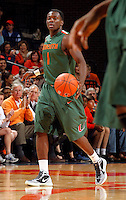 CHARLOTTESVILLE, VA- JANUARY 7: Durand Scott #1 of the Miami Hurricanes handles the ball during the game against the Virginia Cavaliers on January 7, 2012 at the John Paul Jones Arena in Charlottesville, Virginia. Virginia defeated Miami 52-51. (Photo by Andrew Shurtleff/Getty Images) *** Local Caption *** Durand Scott