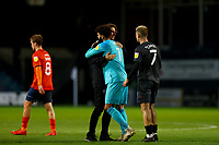 31st October 2020; Kenilworth Road, Luton, Bedfordshire, England; English Football League Championship Football, Luton Town versus Brentford; Brentford Manager Thomas Frank celebrates the 0-3 win with keeper David Raya