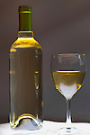 Wine Bottle and Glass, pinot grigio, white, glow, backlight.